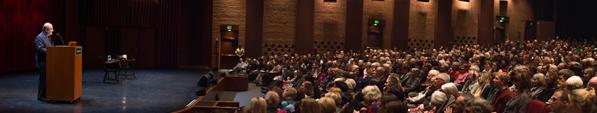 Salman Rushdie at Spaulding Auditorium.