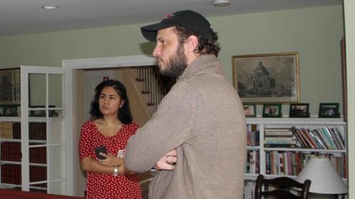 Eric van Hove discusses his art with graduate students
