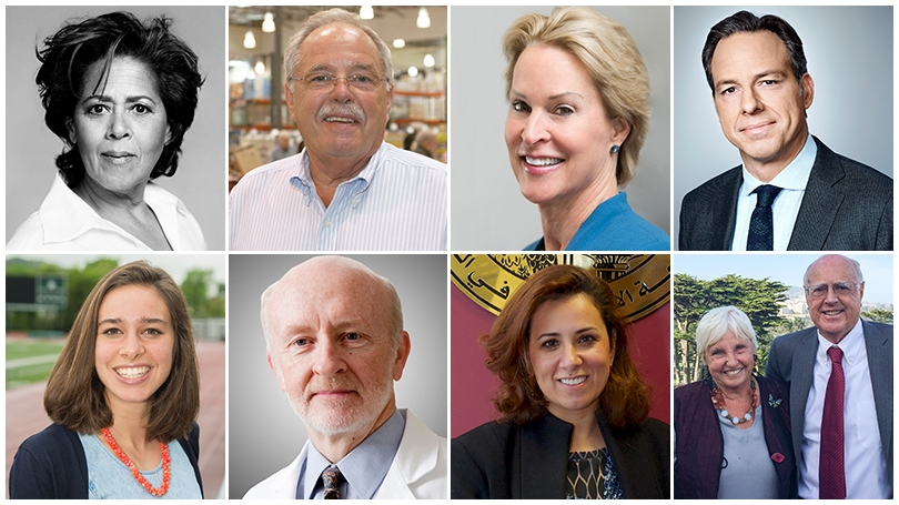 the faces of Dartmouth's nine honorary degree recipients