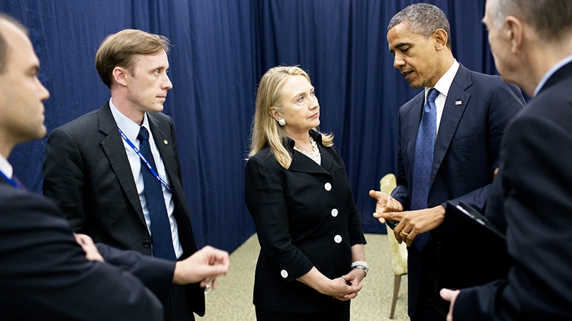 Jake Sullivan with Hillary Clinton and President Barack Obama